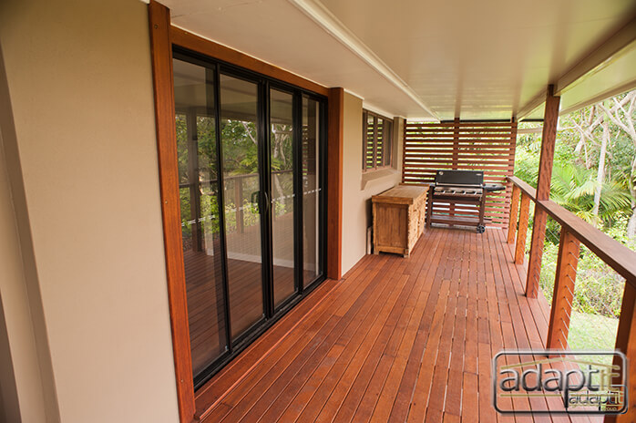 Sliding glass door on deck in brisbane