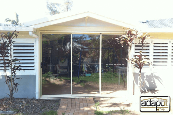 patio with sliding doors