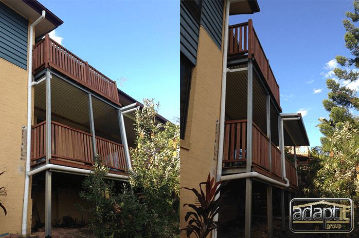 new wooden balastrade and patio roofing brisbane