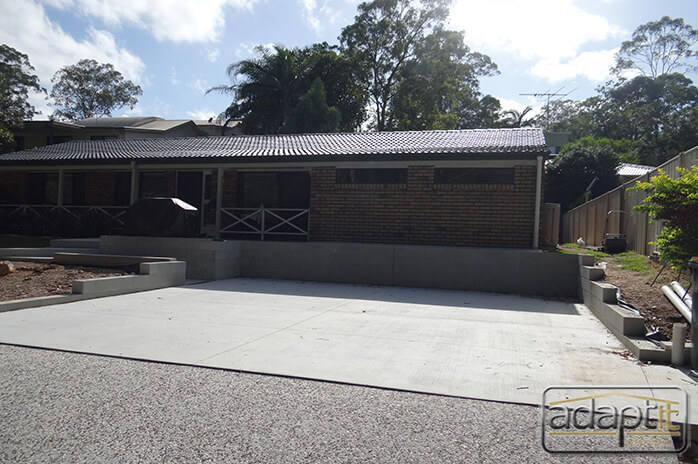 concrete slab prior to carport build
