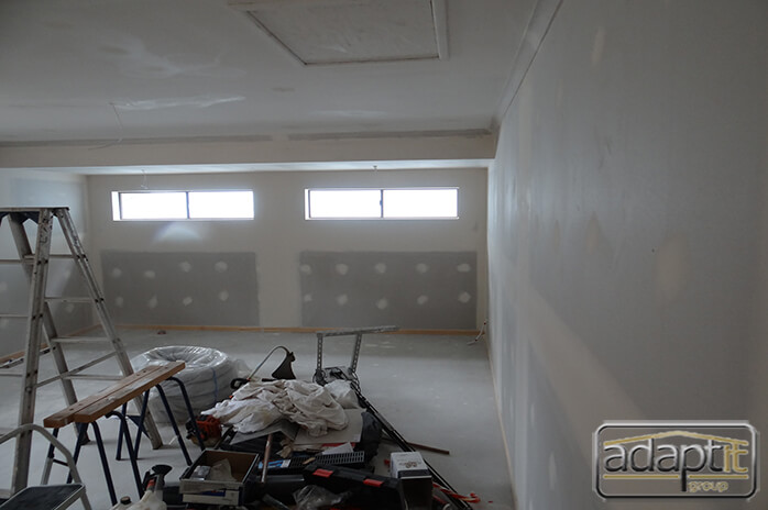 interior of carport prior to interior painting