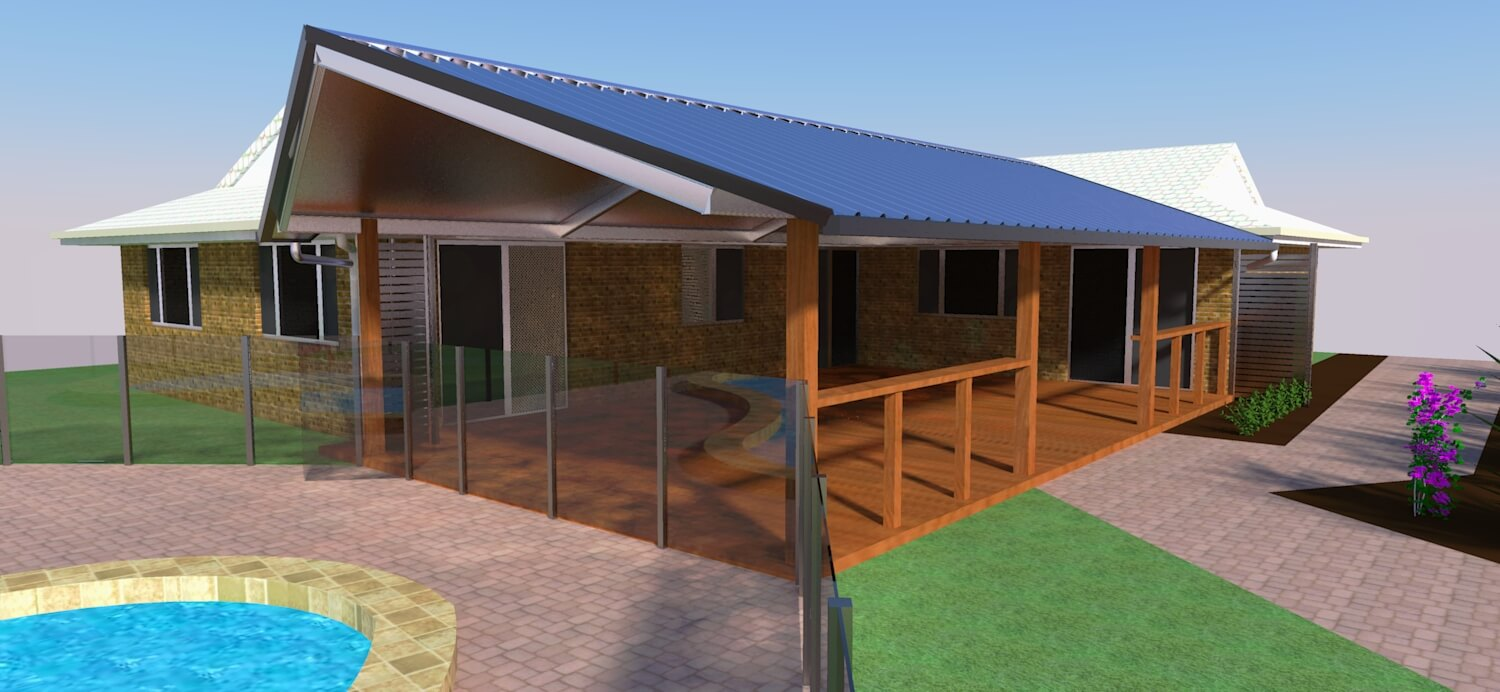 Insulated Gable patio 3d deck designs