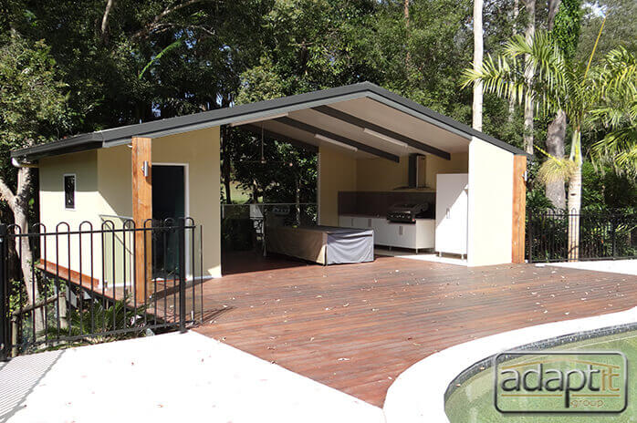 Deck and Patio beside pool in Brisbane