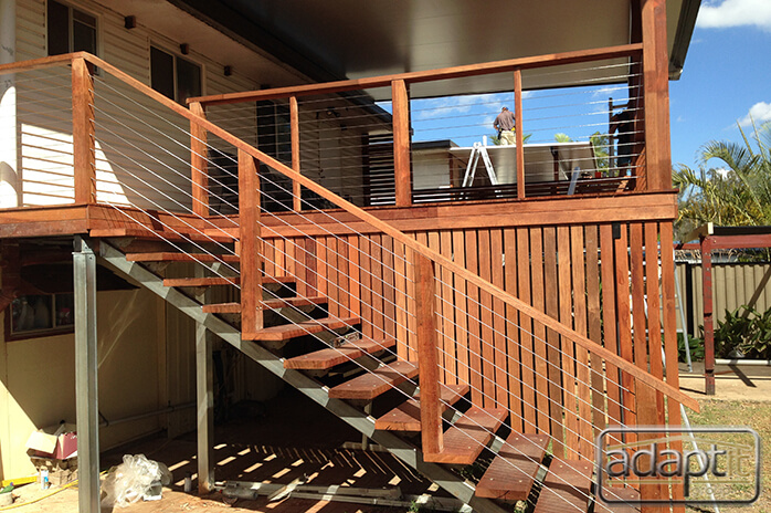side view of stairs deck and patio