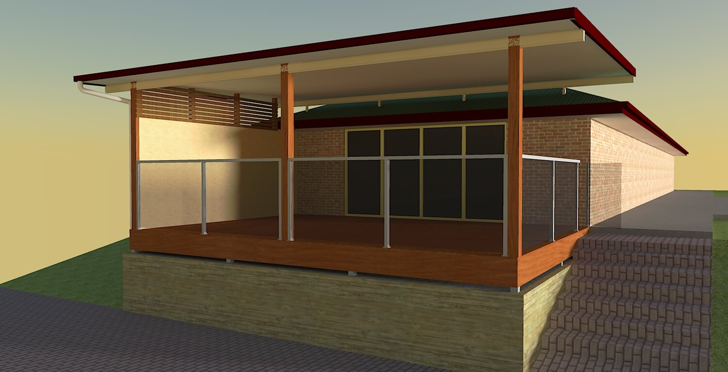 render 3d view of patio