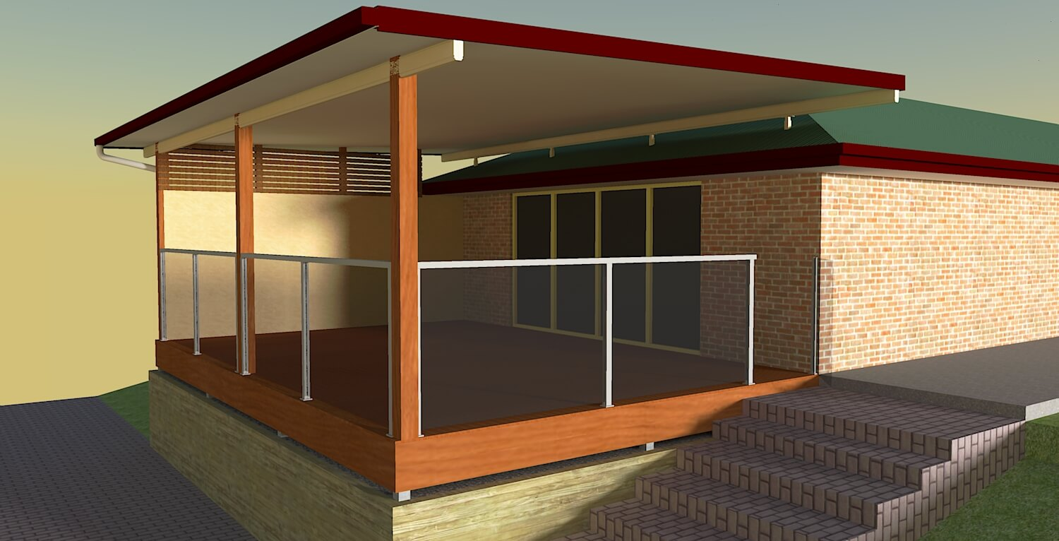 3D Flat Roof Patio Design 3