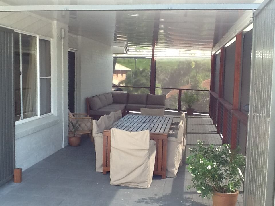 patio with blinds installed in Brisbane