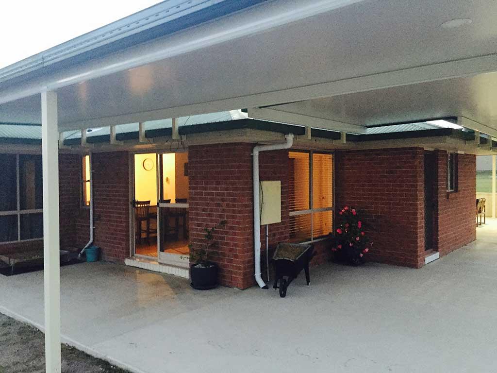 Dusk photo of new patio