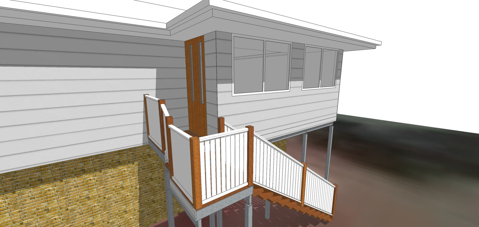 3D Model front angle of new stairs and verandah