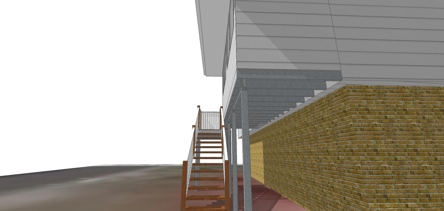 3D Model of new stairs and verandah