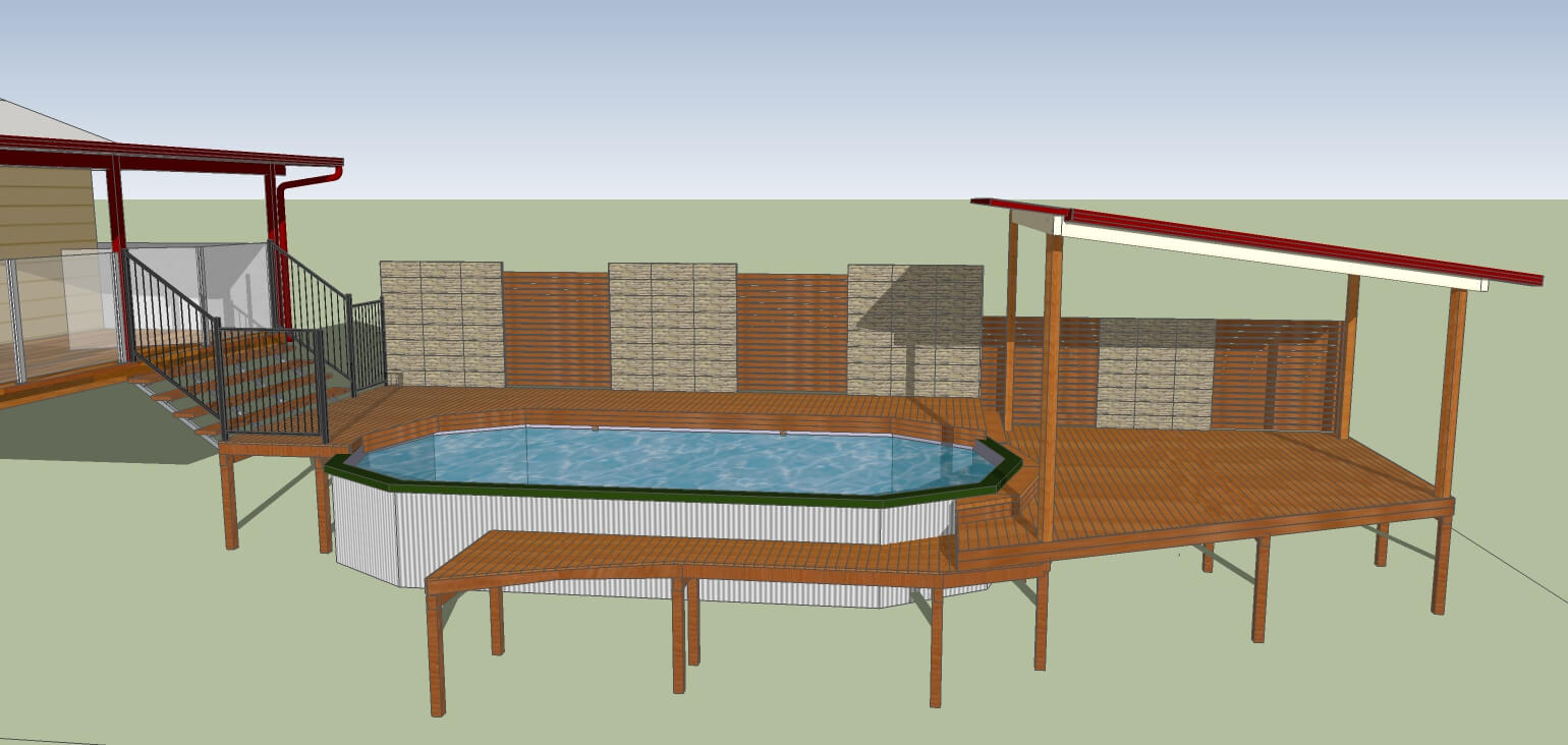 3D model of above ground pool deck and patio