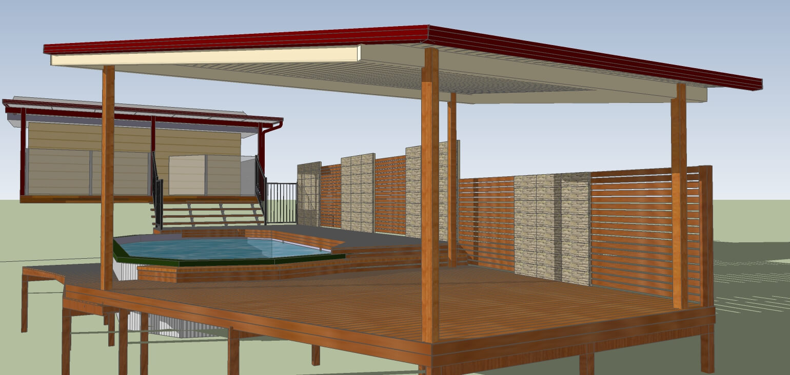 3D model of pool deck and patio with wall and stairs