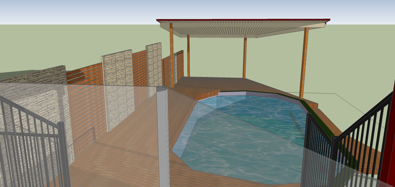 3D model of pool deck and outdoor patio Brisbane