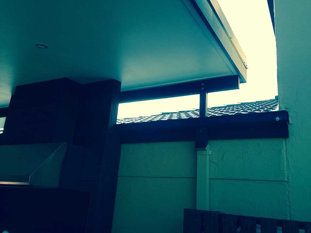 Blinds and Polycarbonate complete this Patio.