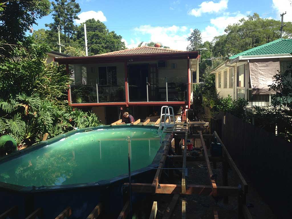 pool deck under constrution in Brisbane