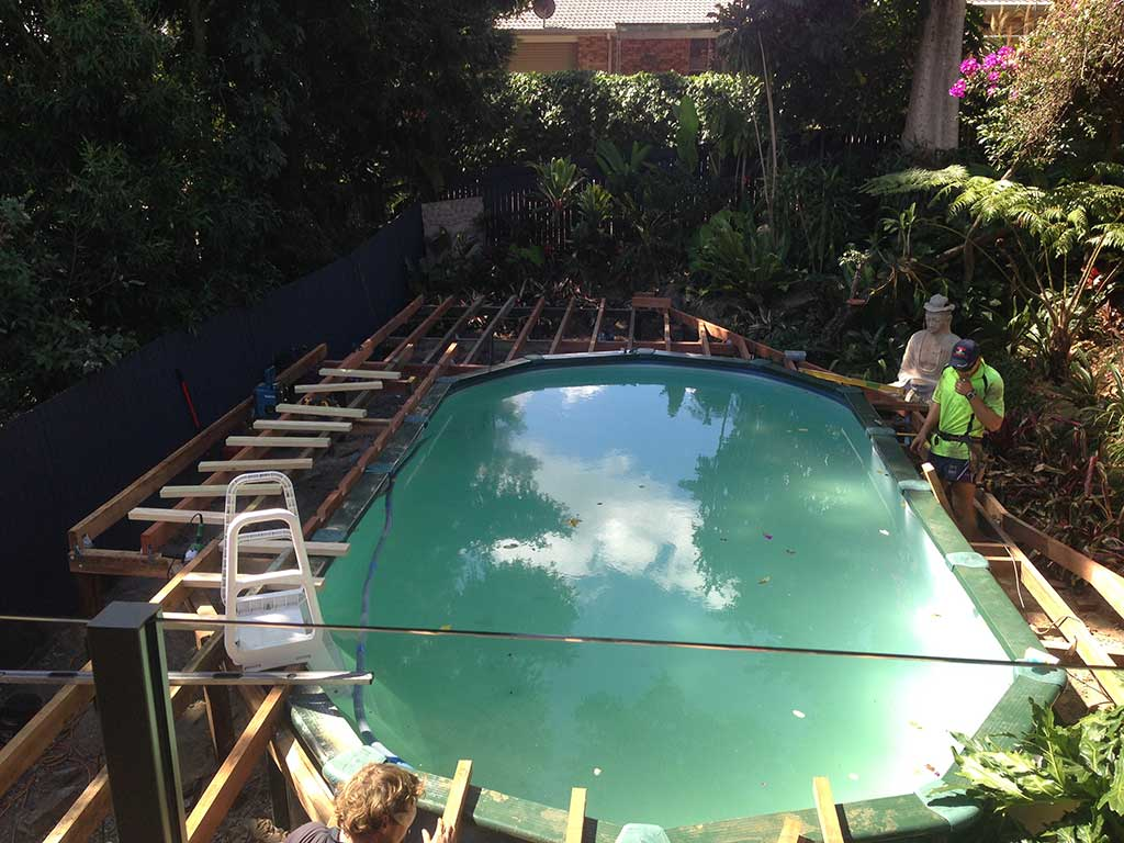 pool decking in progress Brisbane
