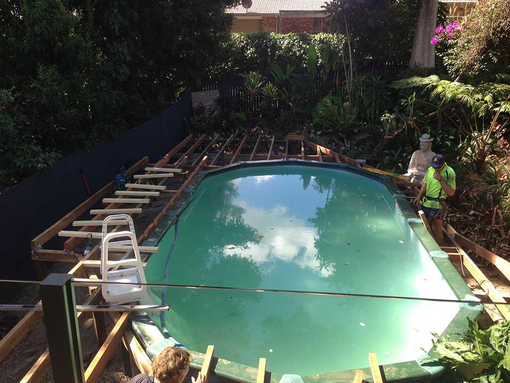 pool decking in progress Brisbane