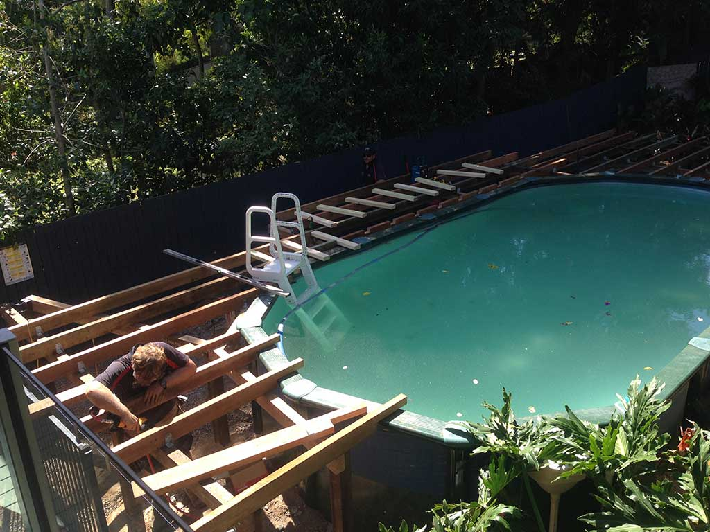 pool deck in Brisbane in progress