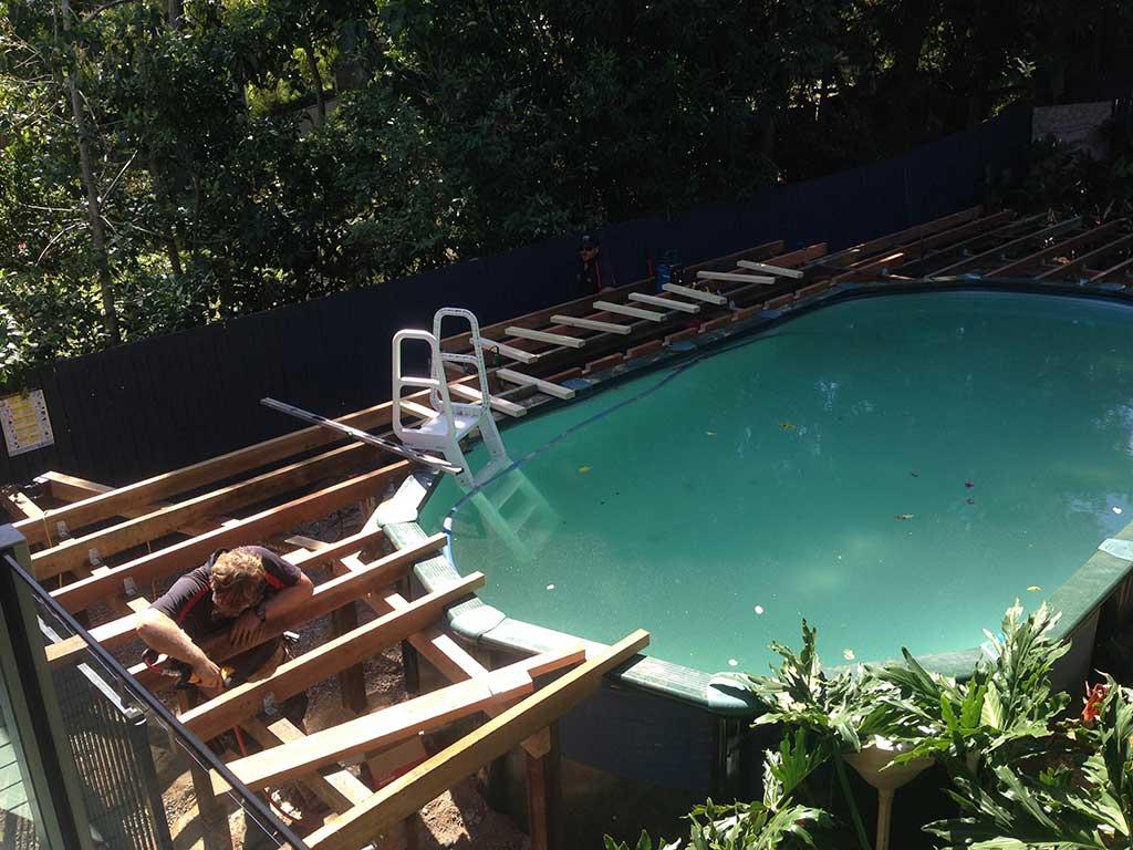 pool deck in Brisbane in progress
