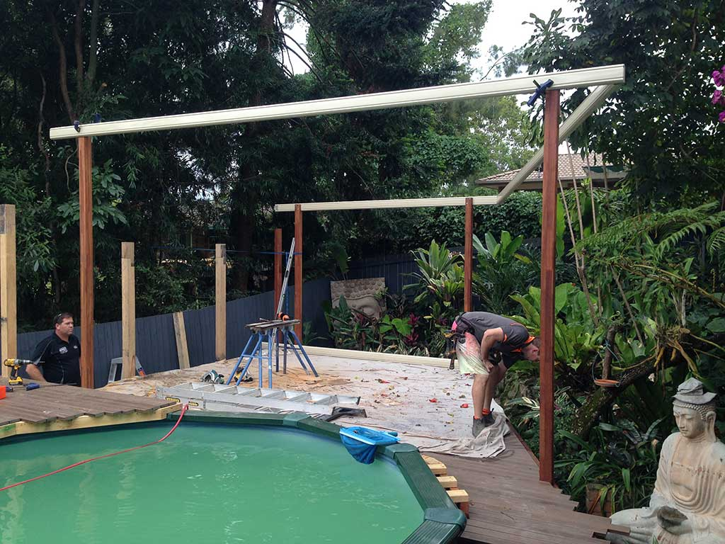 outdoor patio build with modwood deck in transition