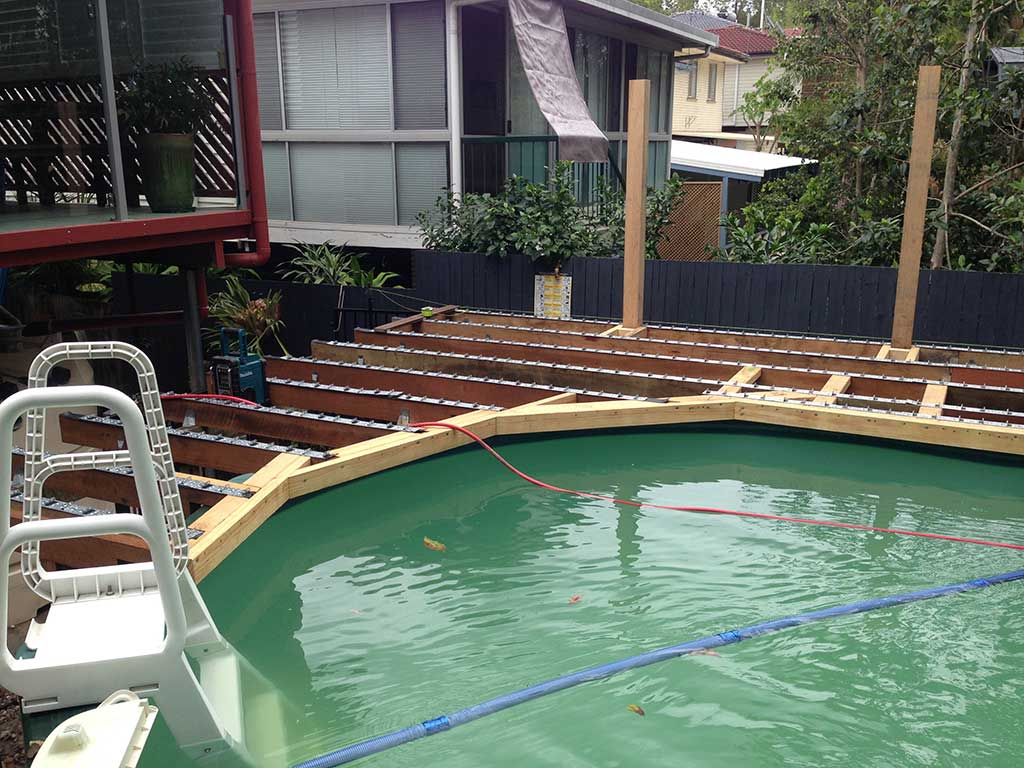 Above ground pool with amazing modwood deck adaptit for 3d pool design brisbane