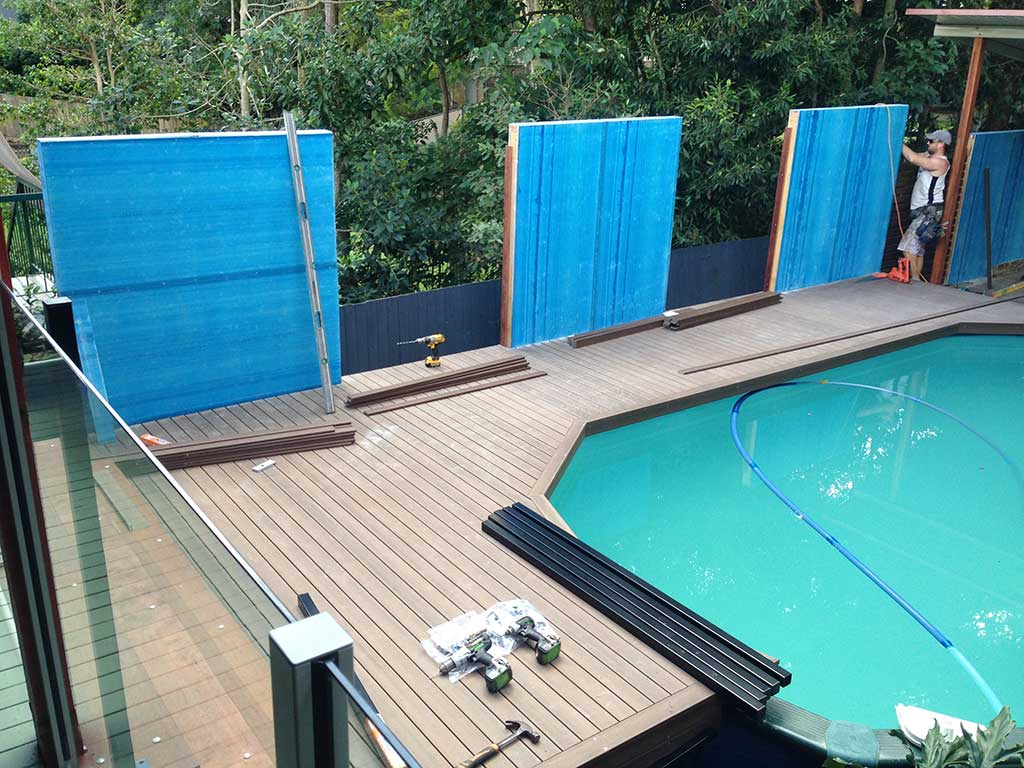 pool deck Brisbane in process with wall