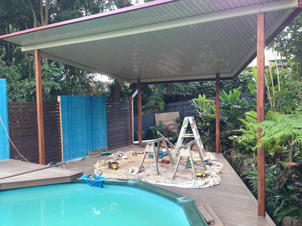 Patio and pool decking Brisbane in process