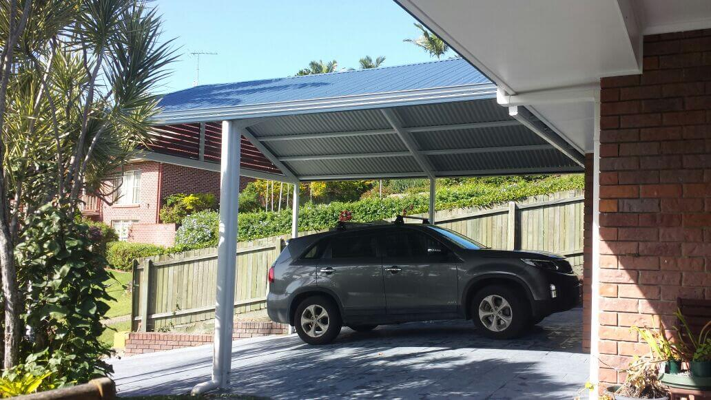 side view of double carports Brisbane