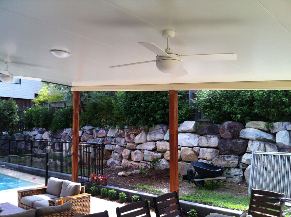 patio roof with fans in brisbane suburbs