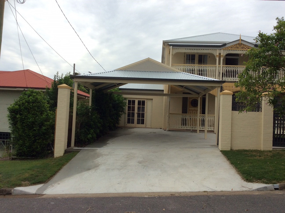 Cream Dutch Gable Carport Brisbane